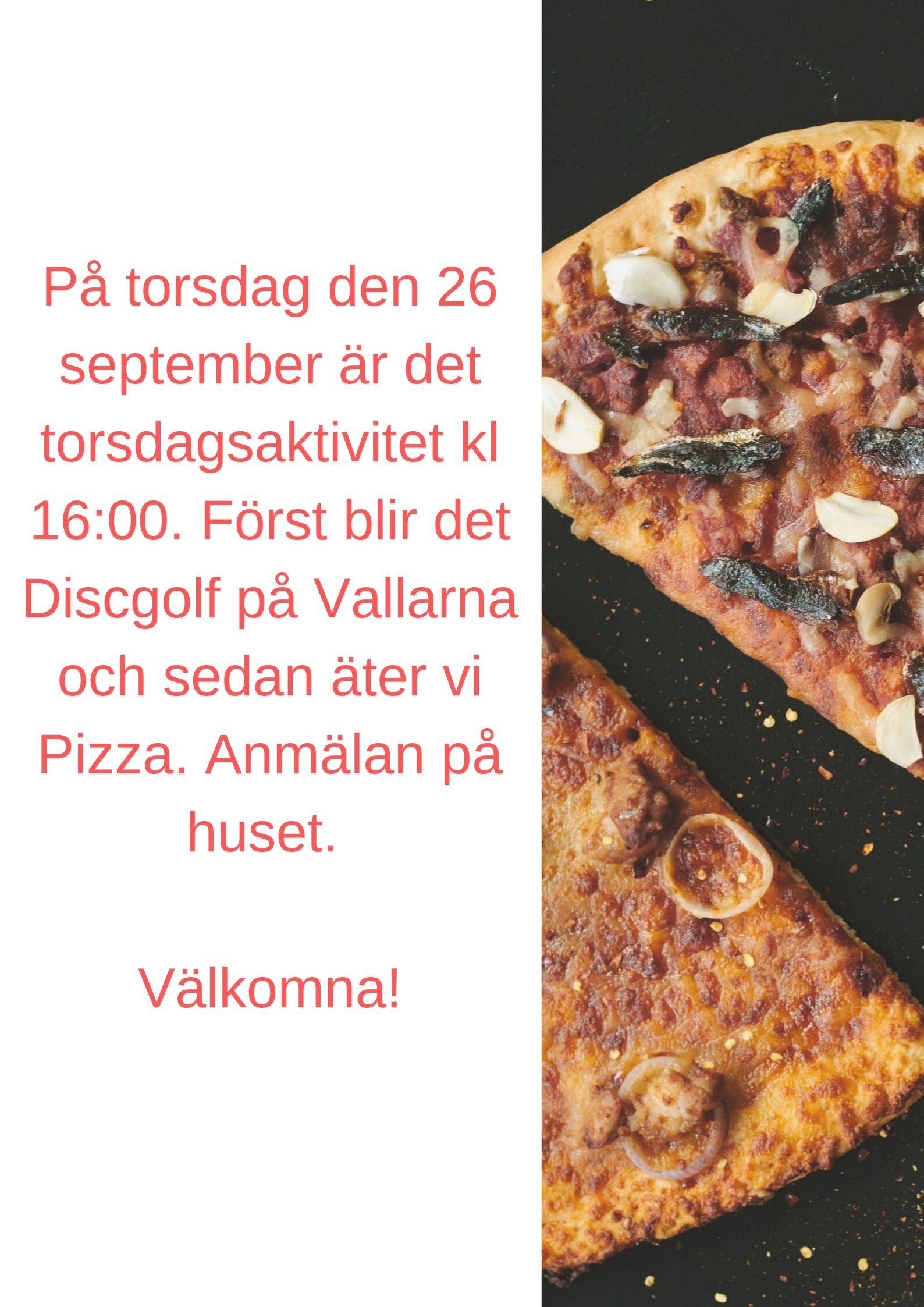 Torsdagsaktivitet 26 september!